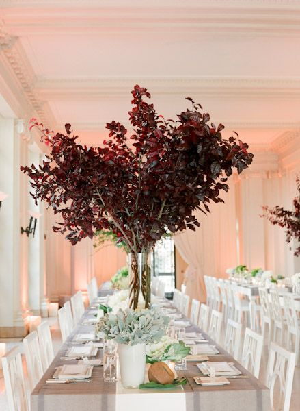 Tall Tree Centerpiece Trees Vase And Burgundy Color