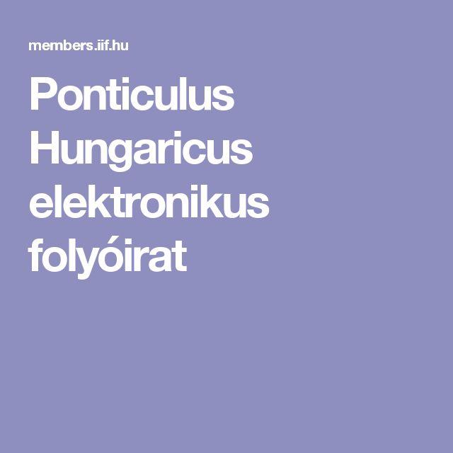 Ponticulus Hungaricus elektronikus folyóirat