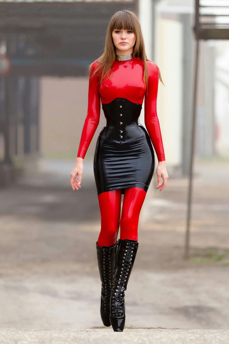 ballet boot bondage Alexandra Potter red black latex dress red ballet heels