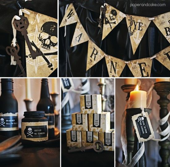 haunted pirate halloween printable party invitation and decorations paper cake