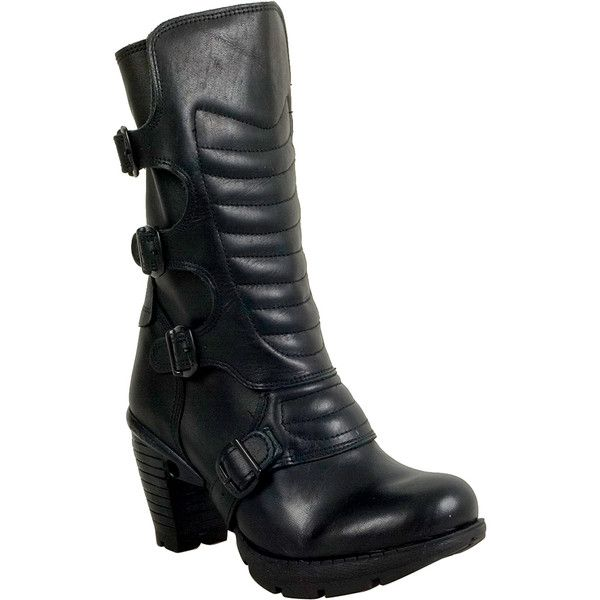 New Rock M.TR003X-S1 Women's Motorcycle Boot ($220) ❤ liked on Polyvore featuring shoes, boots, black, biker boots, new rock boots, black moto boots, high heel motorcycle boots and motorcycle boots