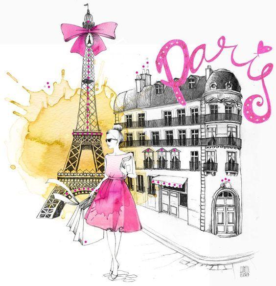 париж, девушка, модные иллюстрации