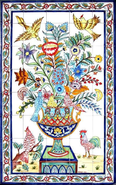 DECORATIVE FRENCH TILES: French design mosaic panel hand painted wall mural kitchen bath patio pool home art  48in x 30in on Etsy, $440.00