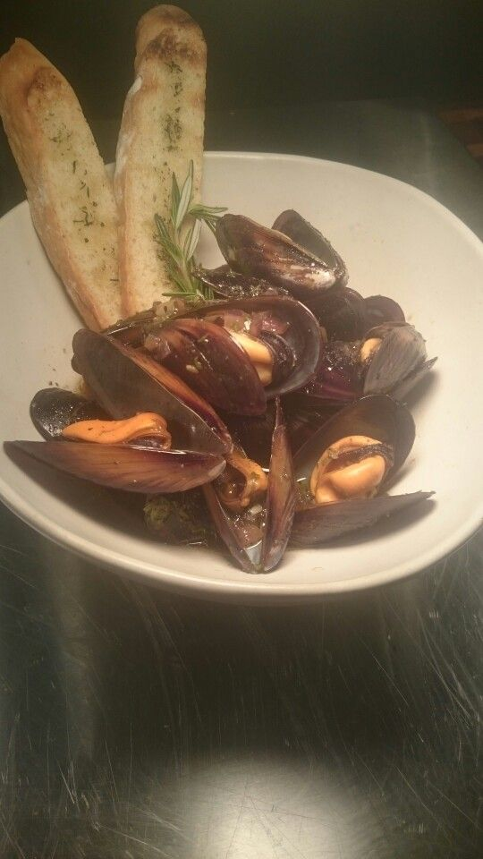 Whole west coast mussels with herbed bruschetta