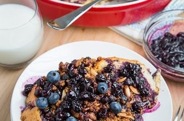 ... Baked French Toast with Amaretti Crumble and Blueberry Maple Syrup