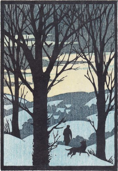 Woodcut for Christmas card by Andrew Davidson