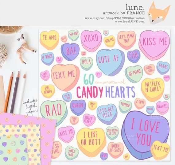 20+ Valentines Day Conversation Hearts Clipart