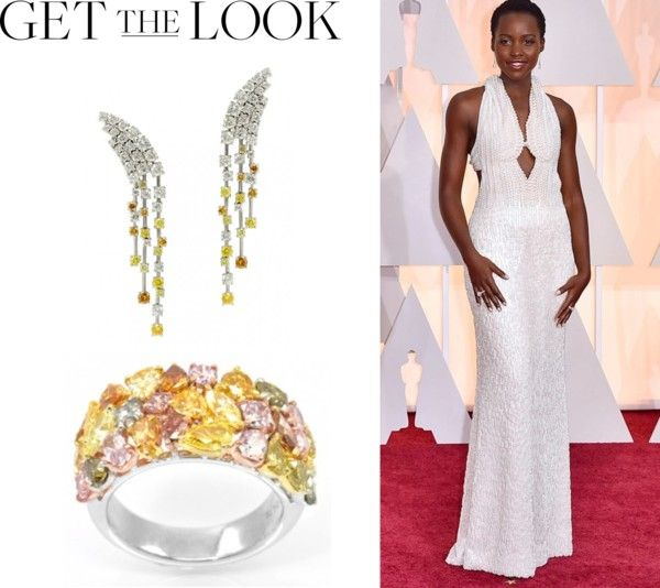 """""""Leibish for Lupita at the Oscars"""" by leibishfd ❤ liked on Polyvore"""