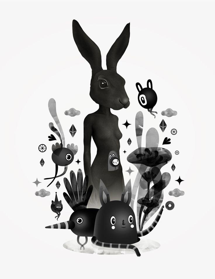 воспитал десятки черно белая картинка на телефон кролик в лунку татуировки
