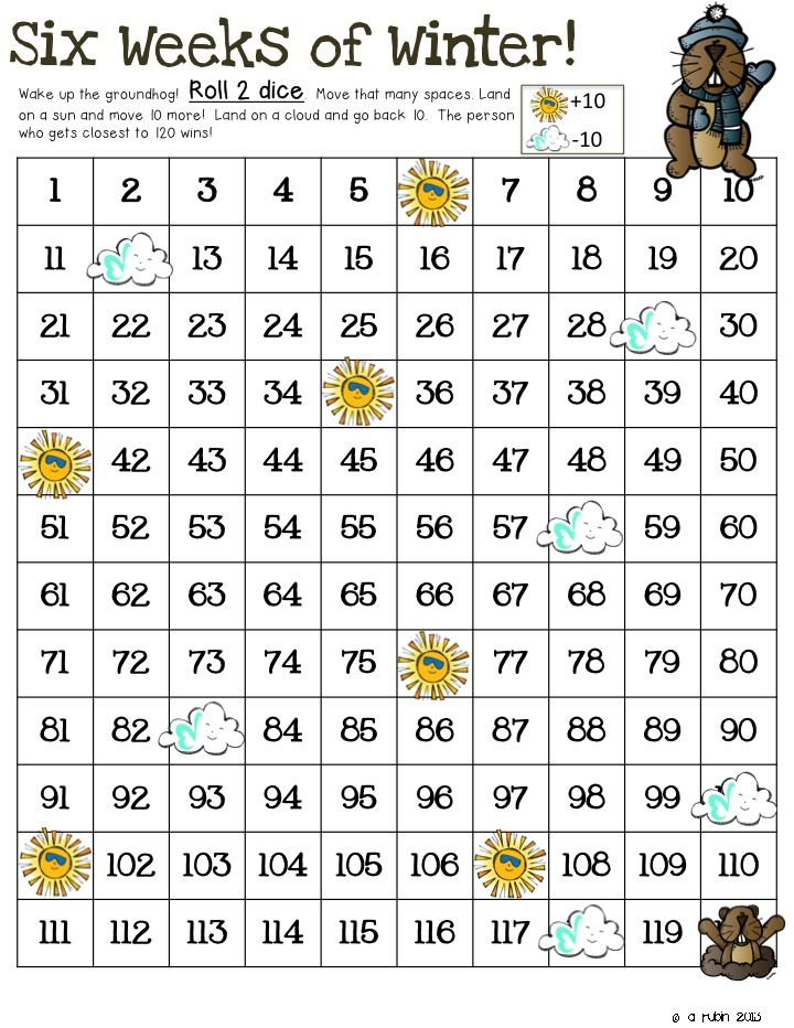 Classroom Freebies: Groundhog Day Dice/120 Freebie
