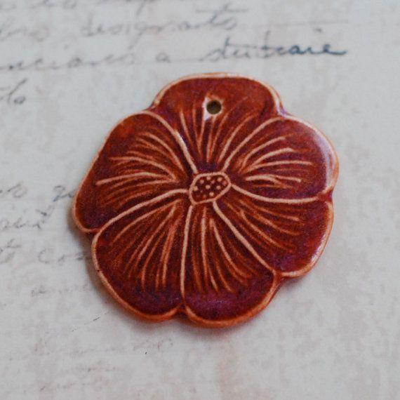 Porcelain Hibiscus Flower Pendant In by MarshaNealStudio on Etsy, $15.00