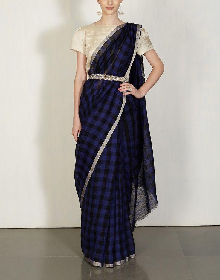 Buy Indigo & Black Festive Checks Sari Available at Ogaan Online Shop