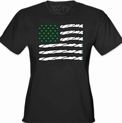 Pot American Flag Girl's T-Shirt | Available in variety of colors | $12.99