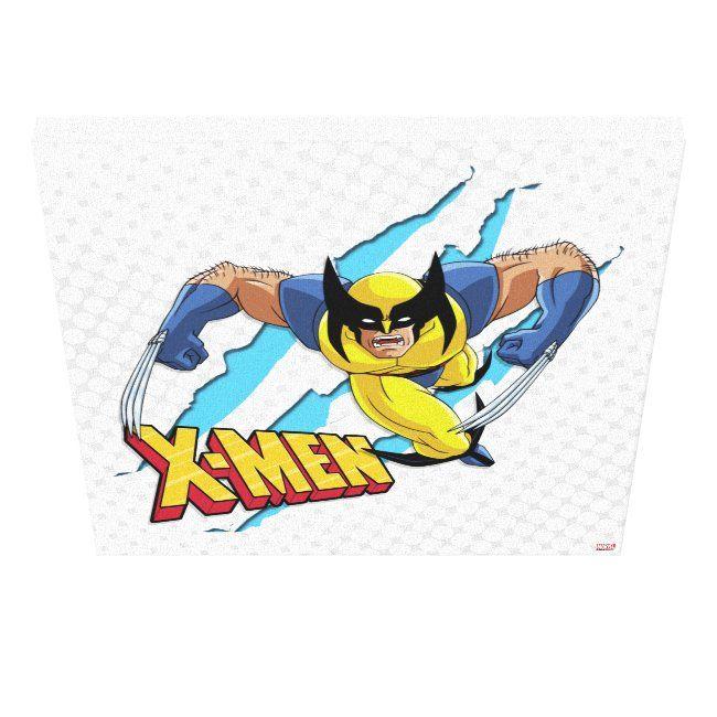 Classic X Men Wolverine Slash Pattern Canvas Print Ad Ad Slash Pattern Canvas Wolverine Shop Retro Canvas Art Patterns Canvas Canvas Art Prints