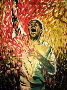Beautiful interpretation of prophetic worship..boy singing praises with hand lifted to Heaven. Prophetic Art painting. Powerful image!