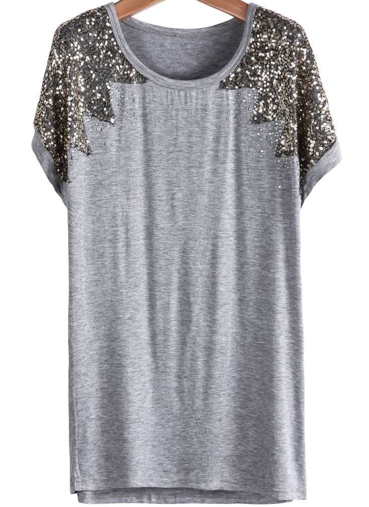Sequined Loose Grey T-Shirt 12.50