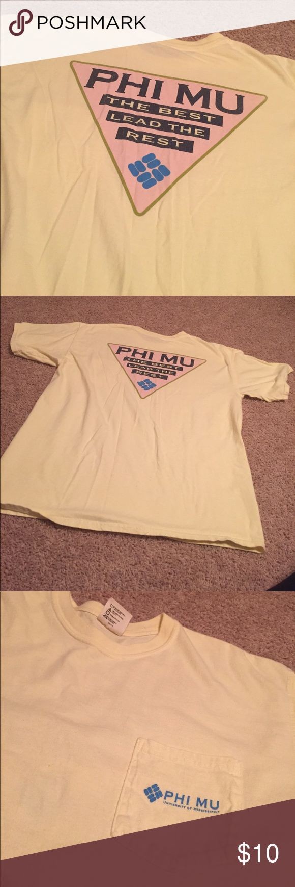 Phi Mu Yellow Short Sleeve Tshirt! Phi Mu Yellow Short Sleeve Tshirt! Size: Large!! Worn several times but still in great condition!!! comfort colors Tops Tees - Short Sleeve