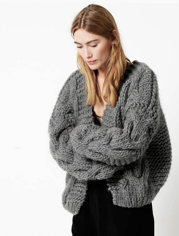 Chunky Oversized Hand Knitted 100% Alpaca Wool Cable Bomber