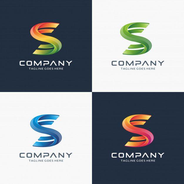 Abstract, modern, 3D letter S logo design