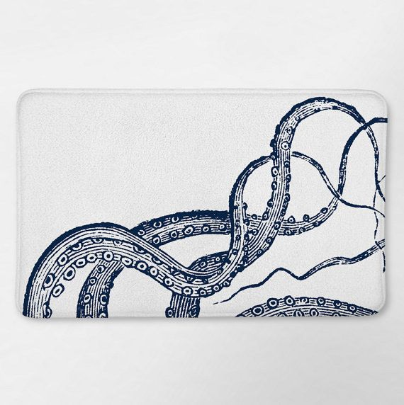 Octopus Bathroom, Bath Mat, Bath Rug, Nautical Bath Rug, Octopus Bath Mat, Nautical Bath Decor, Nautical Bathroom, Nautical Bath Mat Octopus Tentacles Bath Mat ABOUT THE BATH MAT -Soft microfiber foam -Non skidding back -Printed in the USA CARE INSTRUCTIONS -Machine wash separately in