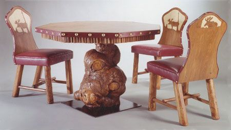 Burl Game Table with Hand Carved Chairs