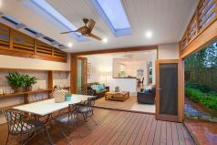 Covered outdoor entertaining area, outdoor setting, ceiling fan, mosquito bi folds, skylights