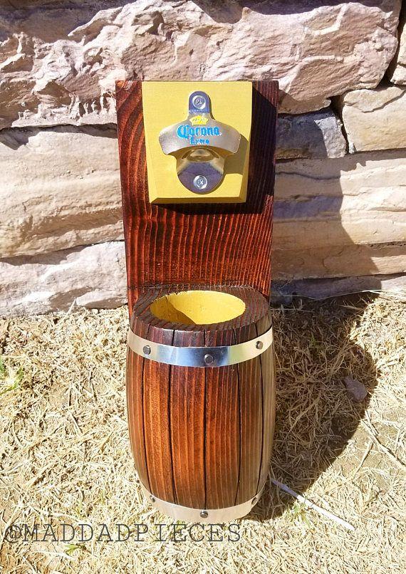 Handmade Corona Wall Mount Beer bottle opener barrel