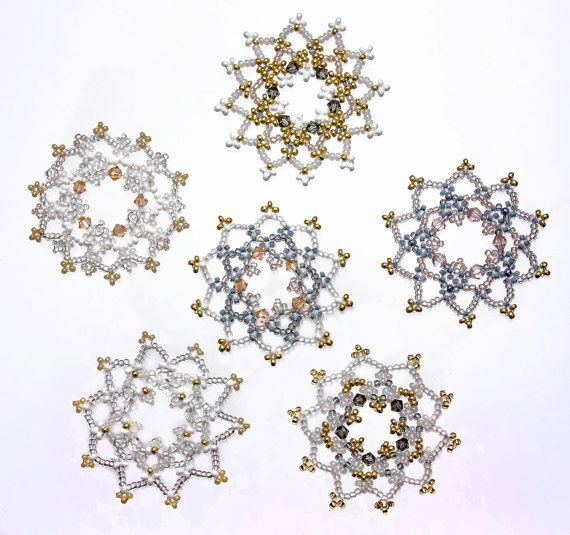 Set of Six Luxurious Crystal & White Beaded Snowflake Christmas Decorations made from Glass Seed Beads and Crystal Beads