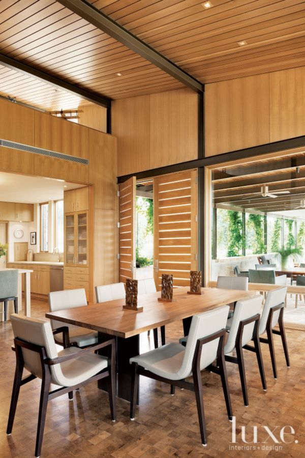modern neutral dining room with planked ceiling - Stone Slab Dining Room Decorating