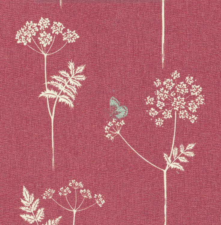Cow Parsley - Linen Union Fabric  - Cranberry, Stone  - Vanessa Arbuthnott
