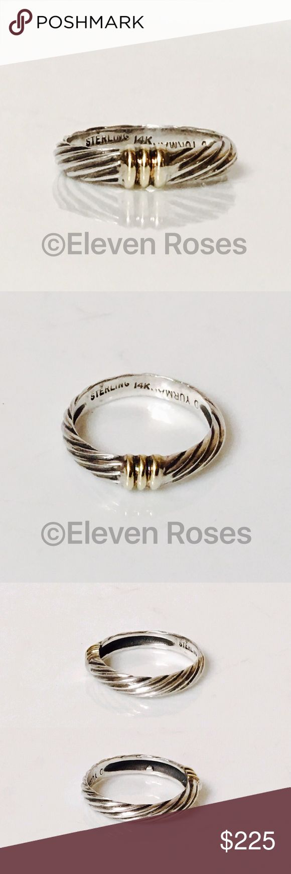 David Yurman 925 & 14k Single Station Metro Ring David Yurman Single Station Petite Metro Band Ring - 925 Sterling Silver & 585 14k Yellow Gold - US Size 6  -  Preowned / Preloved  💕 May Show Slight Signs Of Having Been Worn.    📷  Listing Images Are Of Actual Item Being Offered David Yurman Jewelry Rings