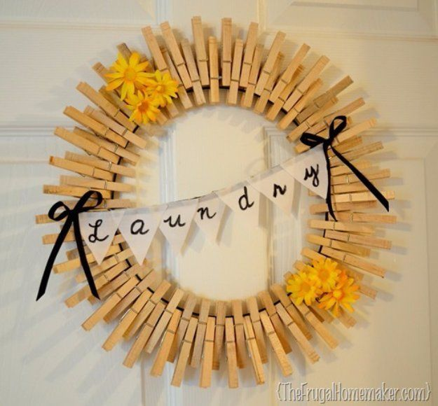 Easy Crafts To Make and Sell - Clothespin Wreath - Cool Homemade Craft Projects You Can Sell On Etsy, at Craft Fairs, Online and in Stores. Quick and Cheap DIY Ideas that Adults and Even Teens Can Make http://diyjoy.com/easy-crafts-to-make-and-sell