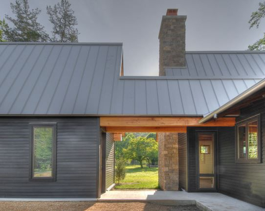 Brown standing seam metal room modern traditional design for Modern metal roof