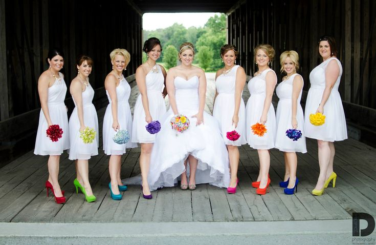 This but with black or grey bridesmaid dresses and bride with pink shoes