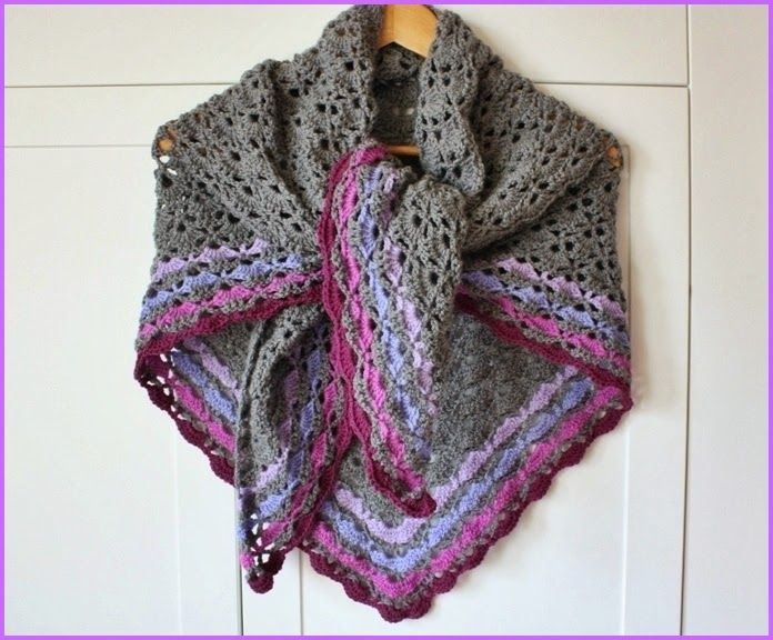 Crochet shawl - soft neutral grey with colored borders - lovely!