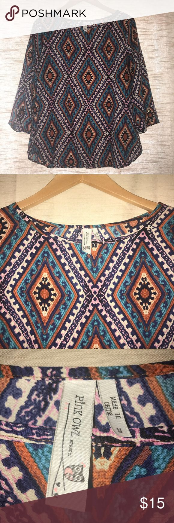 Nordstrom Pink Owl Aztec Blouse Shirt Colorful and in good condition! Pink Owl Tops Blouses