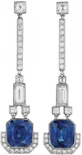 Lot: 135: A Pair of Diamond and Sapphire Ear Pendants., Lot Number: 0135, Starting Bid: $16,000, Auctioneer: PHILLIPS, Auction: Jewels, Date: April 19th, 2012 AKDT