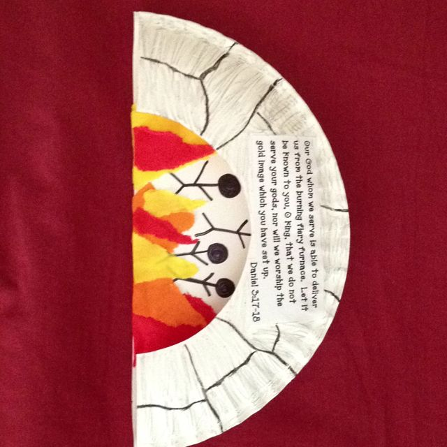 Shadrach, Meshach, and Abednego craft idea using a paper plate cut in half. The Bible verse is Daniel 3:17-18.