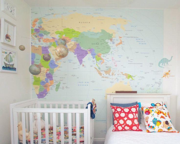 Pareti-gioco per arredare la cameretta dei bambini. World map wall deco for the baby's room.
