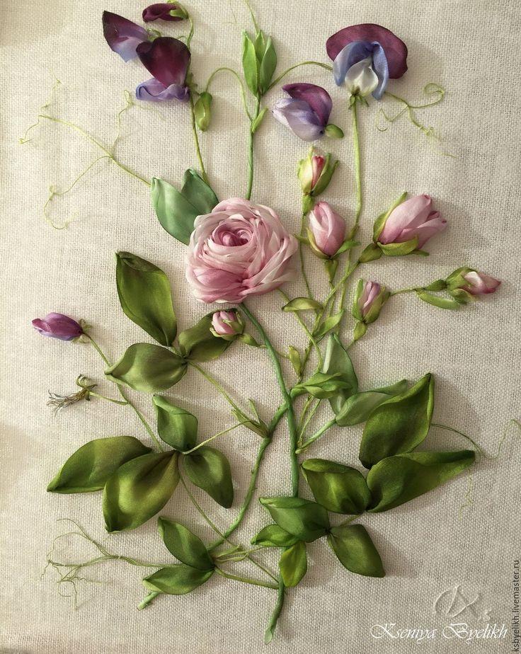 Купить Роза и душистый горошек - комбинированный, вышивка шелковыми лентами, душистый горошек, роза из шелка