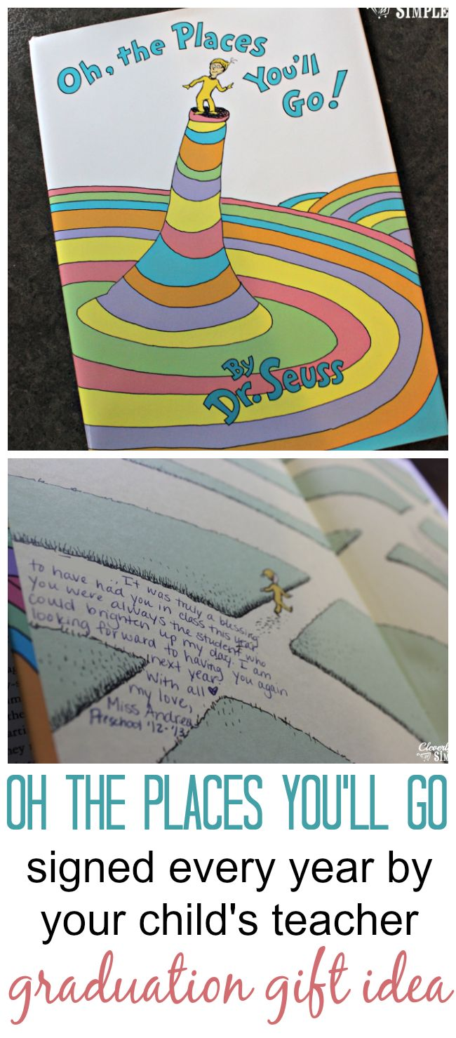 """graduation gift idea: dr.seuss' """"oh, the places you'll go"""" signed by every teacher (cleverlysimple.com)"""