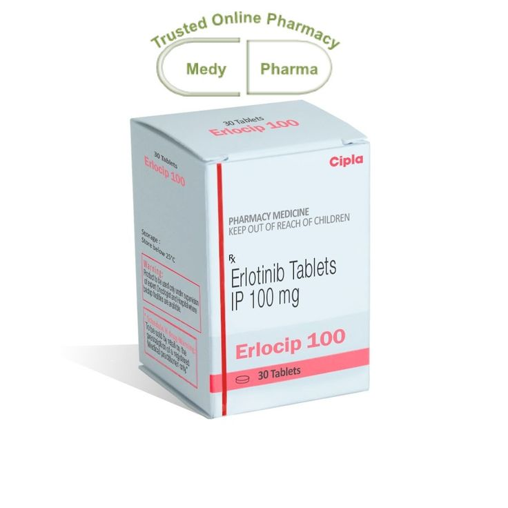 Buy Erlocip 100mg Online containing the active ingredient erlotinib is considered a tyrosine kinase inhibitor type of medication. The medication works by interfering with the protein epidermal growth factor to prevent