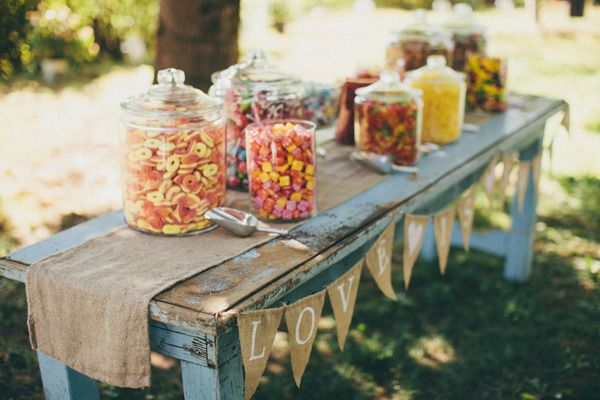 candy bar with a rustic touch