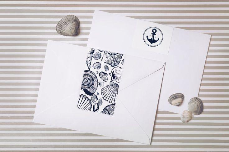 Naklejki ozdobne na koperty z serii Morskiej
