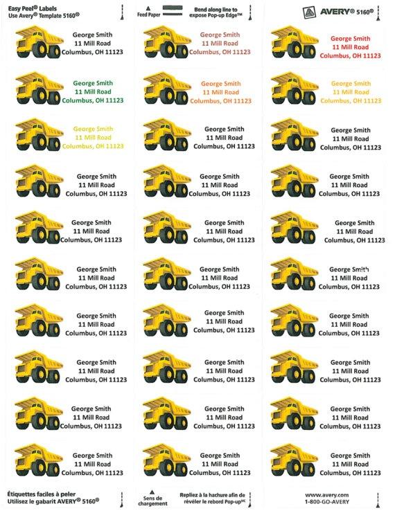 Yellow Construction Truck Birthday . Idea for return labels