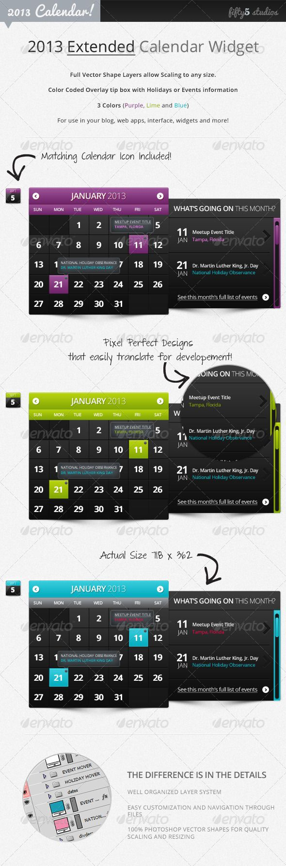 2013 (Extended) Calendar Widget v2.0 - GraphicRiver Item for Sale