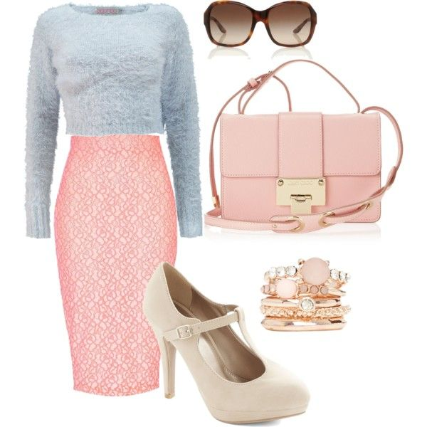 Lace pencil skirt, grey crop sweater, pastel pink purse. JW fashion, modest