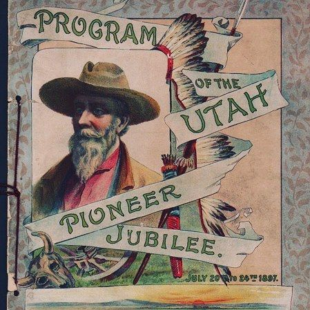 """Program of the #Utah #Pioneer Jubilee. July 20th to 24th, 1897 - 8-page program [25 cm x 37.5 cm] bound at spine with purple cord. Color lithographic wraps. 6"""" by 4.75"""" portion torn from rear wrap, short tears to front wrap, holes punched for binding all torn; moderate pencil marginalia throughout.  #bookstagram #books"""