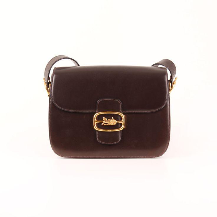 "Céline Vintage Flap Bag with ""calèche"" clasp in dark brown."