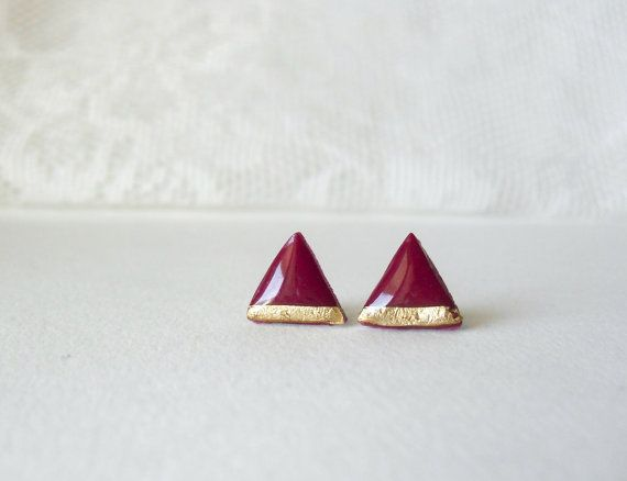 Burgundy gold triangle post earrings Delicate by DivineDecadance